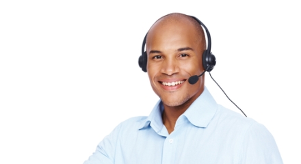 Man wearing a headset